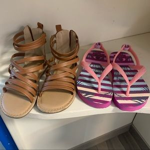 Two Pairs Toddler Sandals Old Navy and Reef